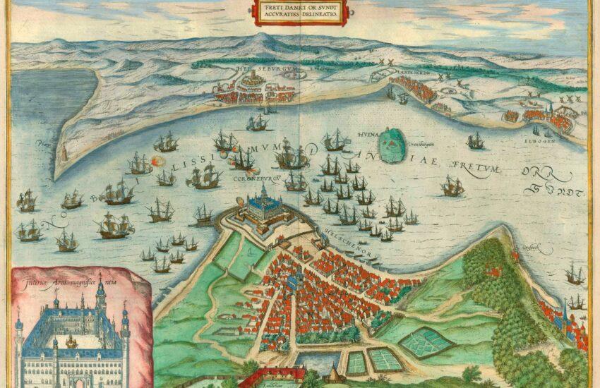 Håndtegnet kort med slot, vand og træskibe